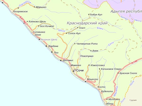 Карта - Краснодарский край  - Сочи