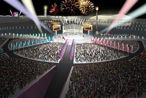 Подиум для вручения олимпийских медалей 2014